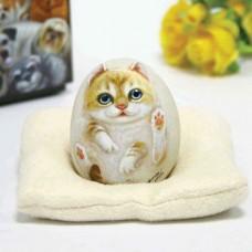 Художественный камень авторской росписи котенок Март