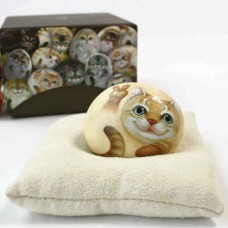 Декоративный камень ручной росписи котик Джимми