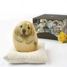 Художественный камень авторской росписи щенок Денни