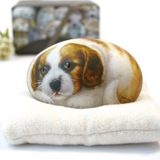 Художественный камень авторской росписи щенок Чарльз