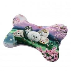 Подушка в форме косточки шейная с изображением кошек в автомобиль или самолет