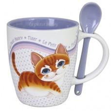 Керамическая кружка с котёнком в красочной упаковке.