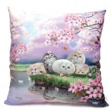 Подушка декоративная большая с кошками «Цветы вишни»