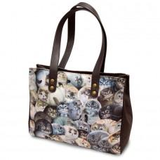 Сумка-тоут женская на молнии с котами