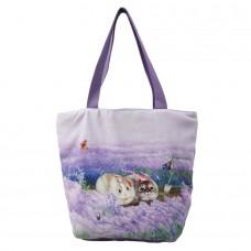 Удобная женская сумка с кошками и кроликом для ежедневного использования