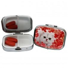 Коробочка-пилюльница для хранения с кошкой