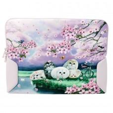 Чехол для ноутбука до 17 дюймов с кошками и цветами