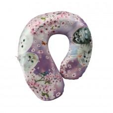 Подушка-бублик шейная для путешествий с кошками и цветами