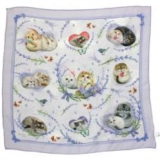 Шейный платок с кошками и кроликами в подарочной упаковке