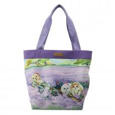Женская сумка с потайным внешним карманом с кошками и кроликом