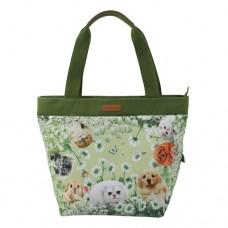 Женская сумка с потайным внешним карманом с кошками и собаками