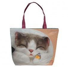 Легкая хозяйственная сумка на молнии с котом для ежедневного использования