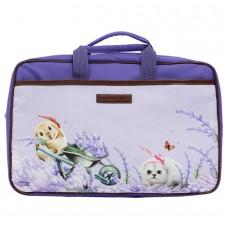 Женский портфель с рисунками кошек со множеством отделений
