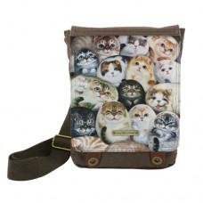 Женская сумка-планшет с изображением кисок из парусины