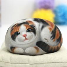 Авторский камень ручной росписи кошка Йоко