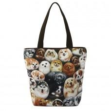 Удобная женская сумка с изображениями собачек для ежедневного использования