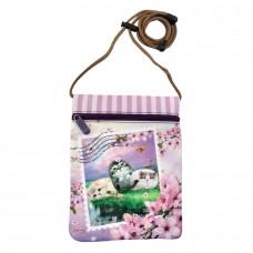 Потайной кошелек на шею с кошками и цветами