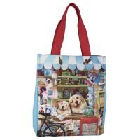 Классическая сумка-тоут вертикальная на магните с щенками лабрадоров