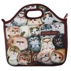 Прогулочная сумка с кошками из мягкого материала на молнии