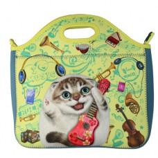 Прогулочная сумка с забавным котенком из мягкого материала на молнии