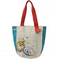 Сумка с щенком и белым мишкой, канвас. Внутренний карман. Двустороний дизайн.