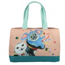 Классическая сумка-тоут с шиншиллой и совой