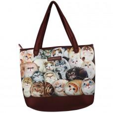 Вместительная сумка с котиками на плечо на молнии