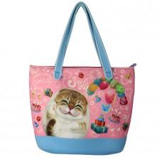 Вместительная сумка с кошкой на плечо на молнии