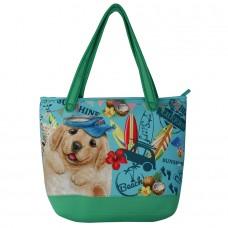 Вместительная сумка с щенком лабрадора на плечо на молнии